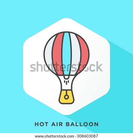 hot air balloon icon with dark