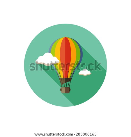 hot air balloon icon with long