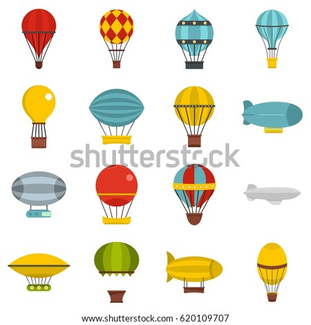 Hot air balloon icons set. Flat illustration of 16 hot air balloon vector icons isolated on white background