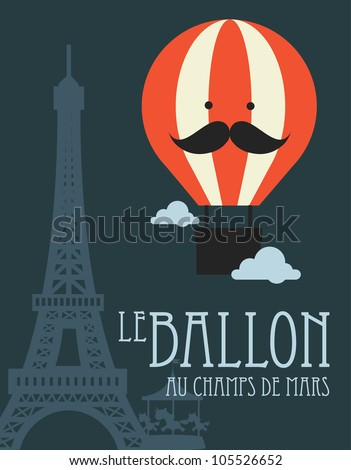 hot air balloon in paris vector illustration