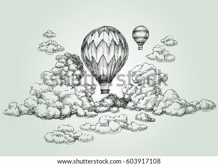 Hot air balloon in the clouds drawing