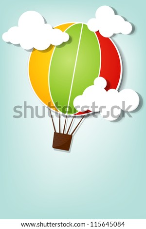 hot air balloon in the sky - stock vector