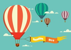 hot air balloon in the sky vector/illustration/background/greeting card
