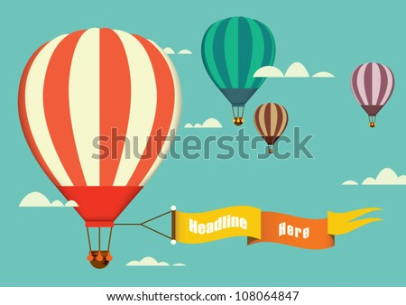 Shutterstock hot air balloon in the sky vector/illustration/background/greeting card