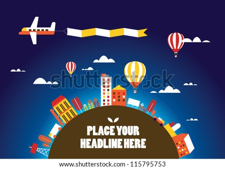 hot air balloon in the sky vector/illustration /background/greeting card