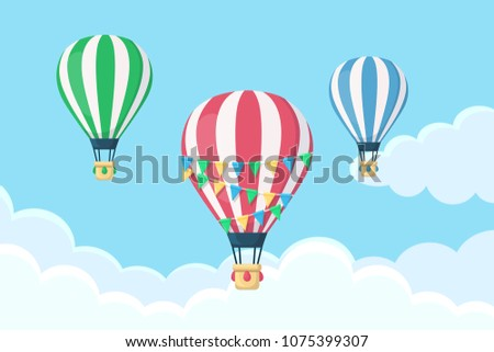 Hot air balloon in the sky with clouds. Festive airship with flag garland, bunting isolated on background. Summer holiday, travel concept. Flat cartoon design. Vector illustration