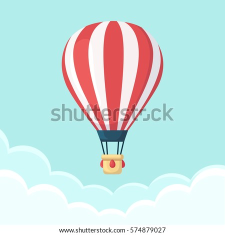 Shutterstock Hot air balloon in the sky with clouds. Flat cartoon design. Vector illustration