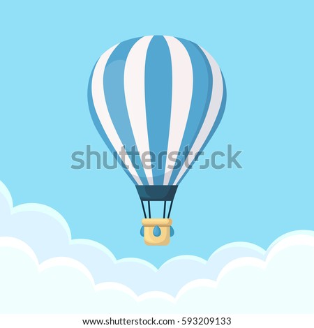 Hot air balloon in the sky with clouds isolated on background. Flat cartoon design. Vector illustration.