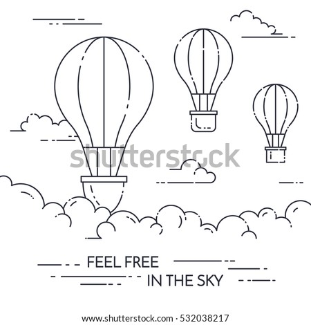 Hot air balloon in the sky with clouds isolated on white background. Flat line art vector illustration. Concept for travel agency, motivation, business development,greeting card,banner,flyer,web,print