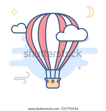 Hot Air Balloon Line Illustration