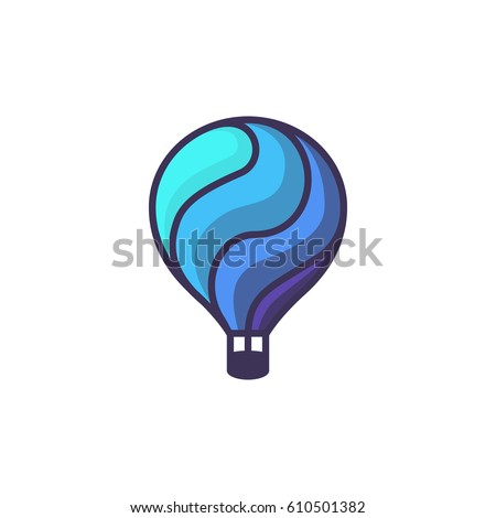 Hot air balloon logo. Cartoon illustration of hot air balloon vector icon for web design or logo template
