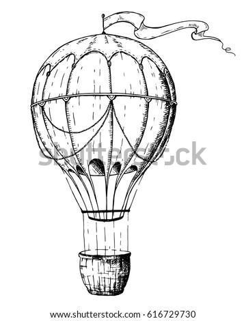 Hot Air Balloon logo design template. Retro airship on white background. Vector illustration