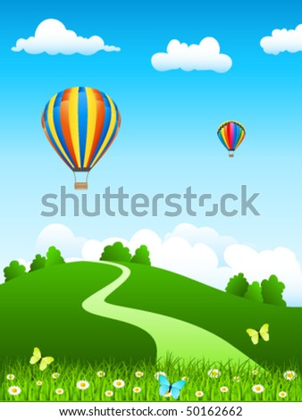 hot air balloon over green