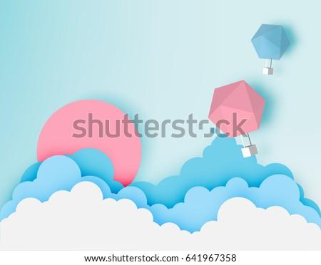 hot air balloon paper art style