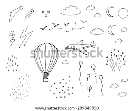 hot air balloon  plane  moon