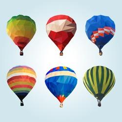 Hot air balloon polygon vector