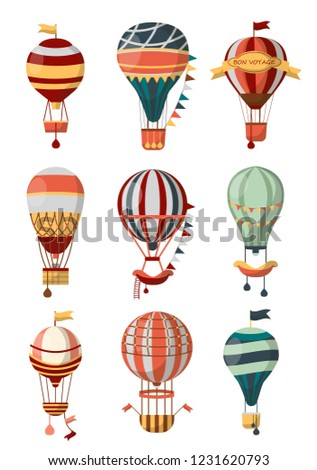 Hot air balloon retro icons with pattern, gondola and flags for Bon Voyage or open air balloon festival. Vector isolated symbols of balloon cloudhopper for travel tour or entertainment show