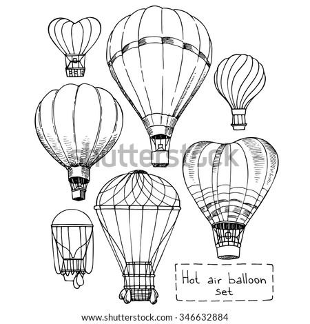 Hot air balloon set, contour drawings for design.
