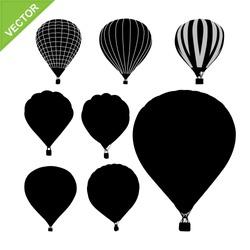 Hot air balloon silhouettes vector