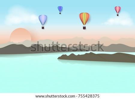 hot air balloon travel in blue
