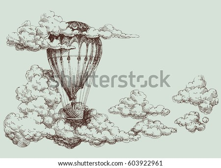 Hot air balloon up in the sky, retro poster
