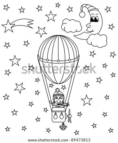 hot air balloon, vector illustration