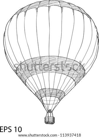 Hot Air Balloon Vector Sketch Up line, EPS 10.