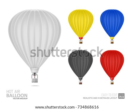 Hot Air Balloon white and black color - Mockup Template for branding design. Hot Air Balloons white, yellow, blue, red color. Blank Aerostat Mockup isolated on white background