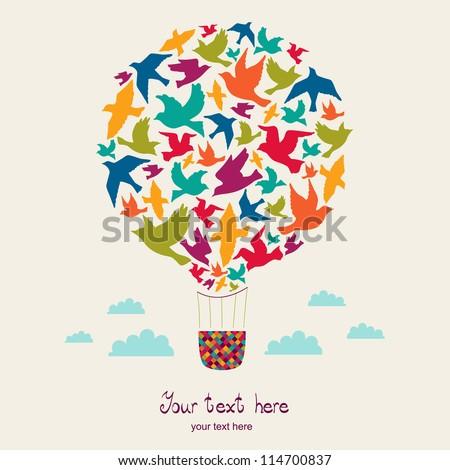 hot air balloon with birds