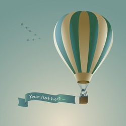 Hot air balloon with message on banner, vector illustration