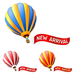 hot air balloon with new arrival sign