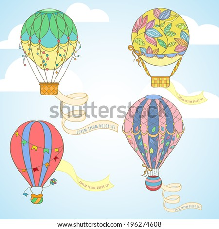 Hot air balloon with poster set in the sky can be used for holiday cards, wedding invitation, postcard, flayer, banner or website. Hand-drawn cartoon vector air balloon banner illustration