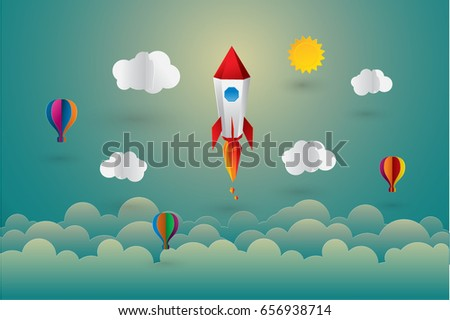 hot air balloon with rocket