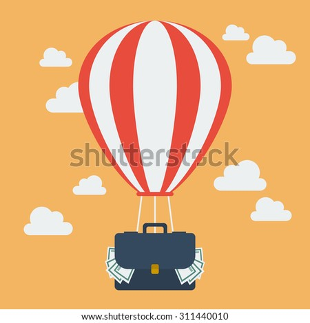 hot air balloon with suitcase
