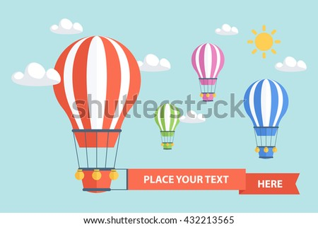 Hot Air Balloons and clouds. Flat design vector illustration.