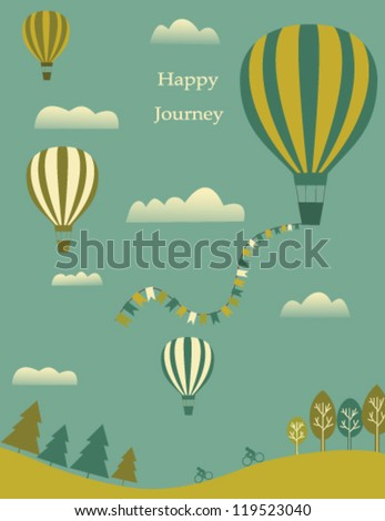 Hot air balloons and clouds in the sky. Vector