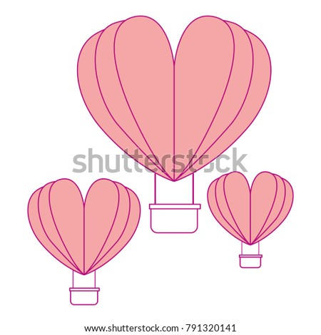 hot air balloons flying with heart shape #791320141