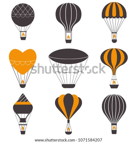 Hot air balloons icons in monochrome. Vintage gas balloons logo or label templates. Air craft adventure, exploring retro airships and aerostats emblems. Touristic ballooning journey logotypes.