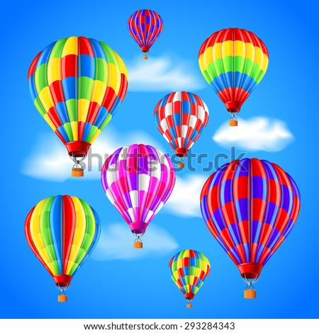 Hot air balloons in the sky photo realistic vector background