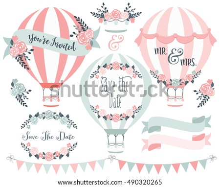 Hot Air Balloons Save the Date Wedding