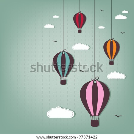 hot air balloons - scrap elements
