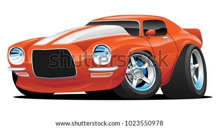 hot american muscle car cartoon