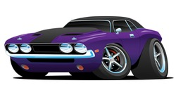 Hot American muscle car cartoon. Purple and black paint, aggressive stance, low profile, big tires and rims.