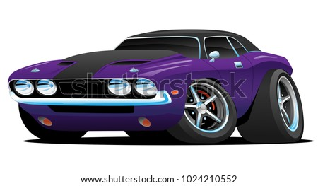 hot american muscle car cartoon