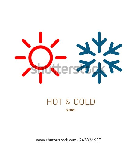 Shutterstock Hot and cold sun and snowflake icons