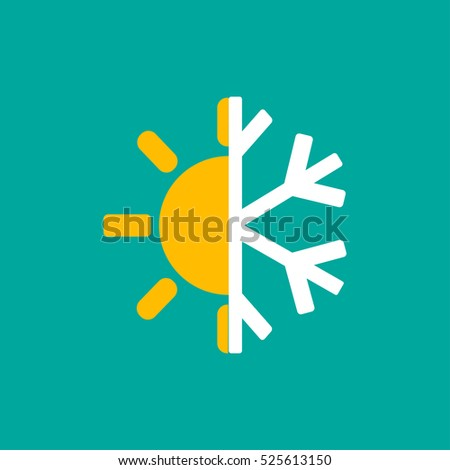 hot and cold symbol sun and