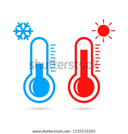 Hot and cold temperature vector pictogram illustration isolated on white background