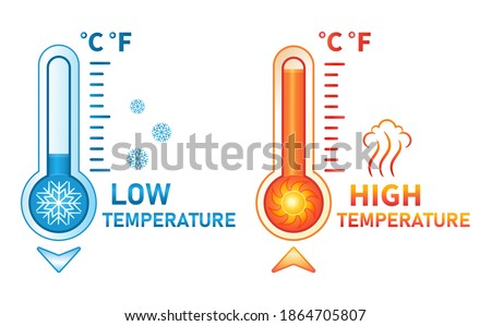 Hot and cold thermometer icon set. Low and high temperature on measuring sсale. Meteorological measurements weather in summer and winter. Control level cooling and heating of equipment. Flat vector  ストックフォト ©