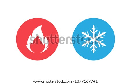 Hot and cold vector icon set isolated on white background. Fire and snowflake symbols in round buttons. Vector EPS 10