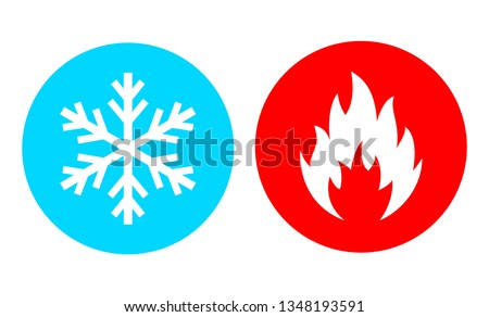 Hot and cold vector icon set on white background